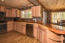 kitchen with Redwood counter tops