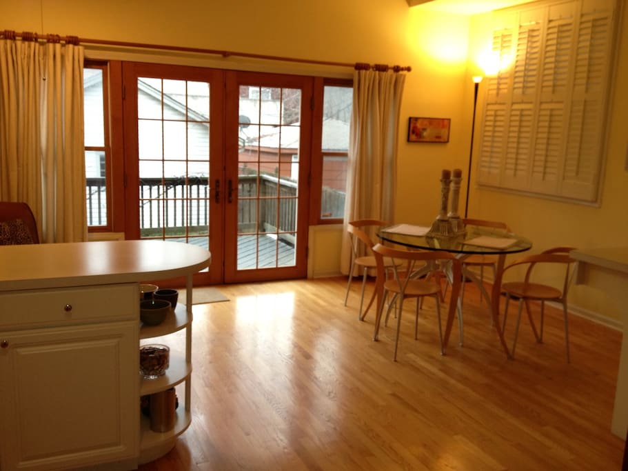 Spacious and clean kitchen with access to outdoor deck and gas grill. Enjoy your complimentary Keurig coffee.