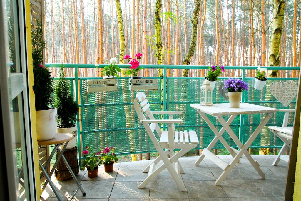 Cosy balcony overlooking the forest.