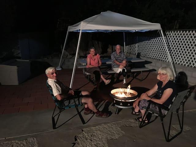 Guests enjoying firepit