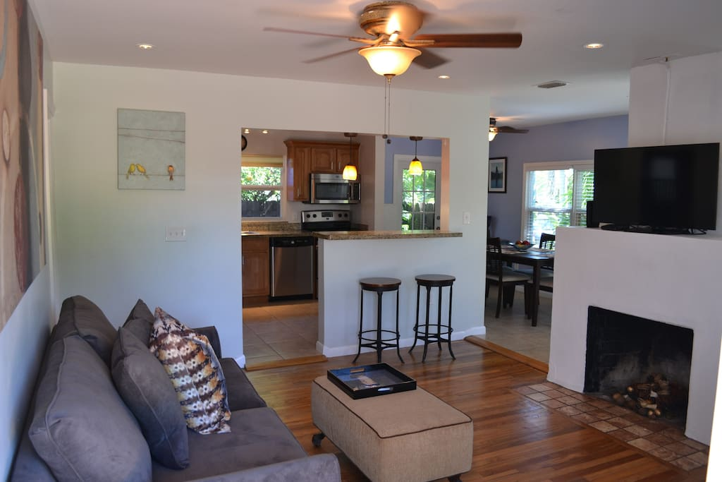 Open concept living space is perfect for groups and socializing