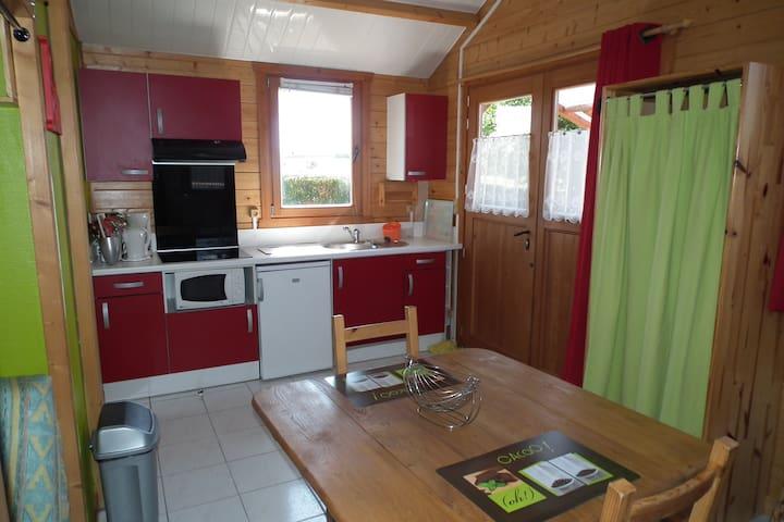 Coin salle à manger / cuisine avec frigo, four micro-ondes, mini four et plaques à induction.