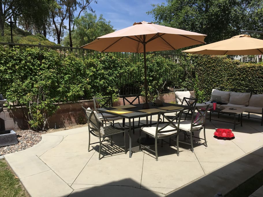 Backyard is perfect for entertainment, dining and seating area.  BBQ grill available.