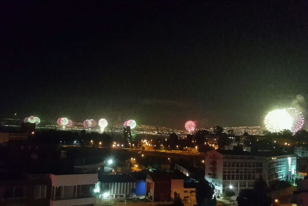 View of New Year´s day fireworks from the balcony