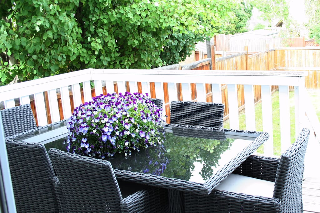 Dine al fresco with seating for 6 on the deck off the kitchen