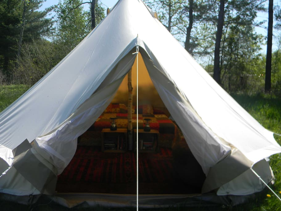 Roomy canvas tent for your farm stay