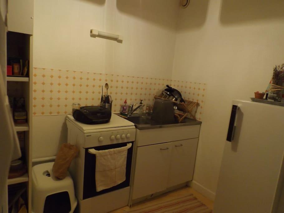 Cuisine: Gazinière, frigo et placards à votre disposition