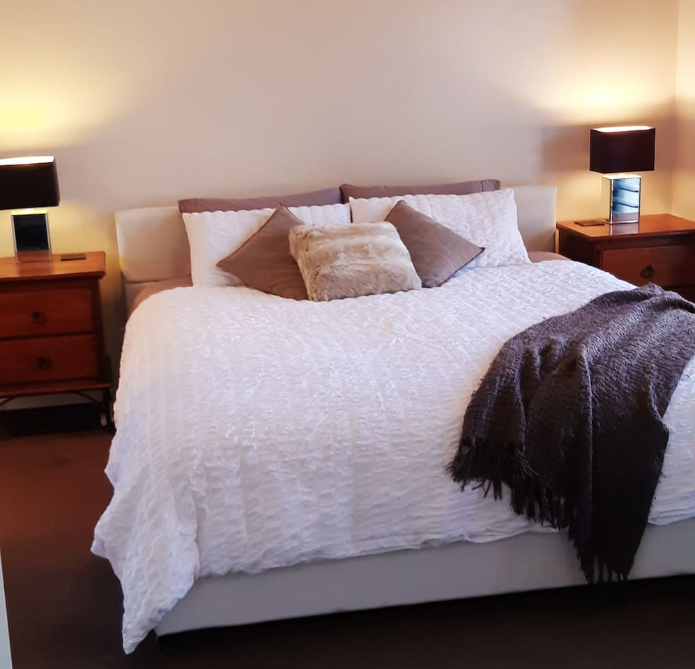 Master bedroom ensuite room with an amazingly comfortable pillowtop king bed.