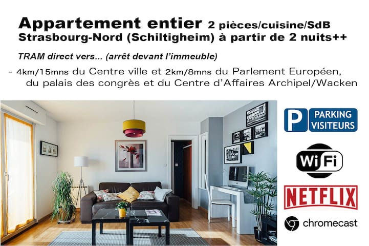 Strasbourg-Nord : Appartement 2 p. Wifi - Parking