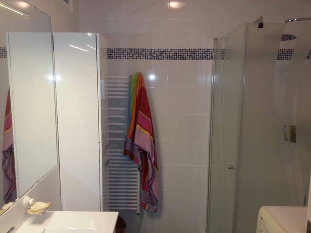 une salle d'eau avec douche, lave linge...
