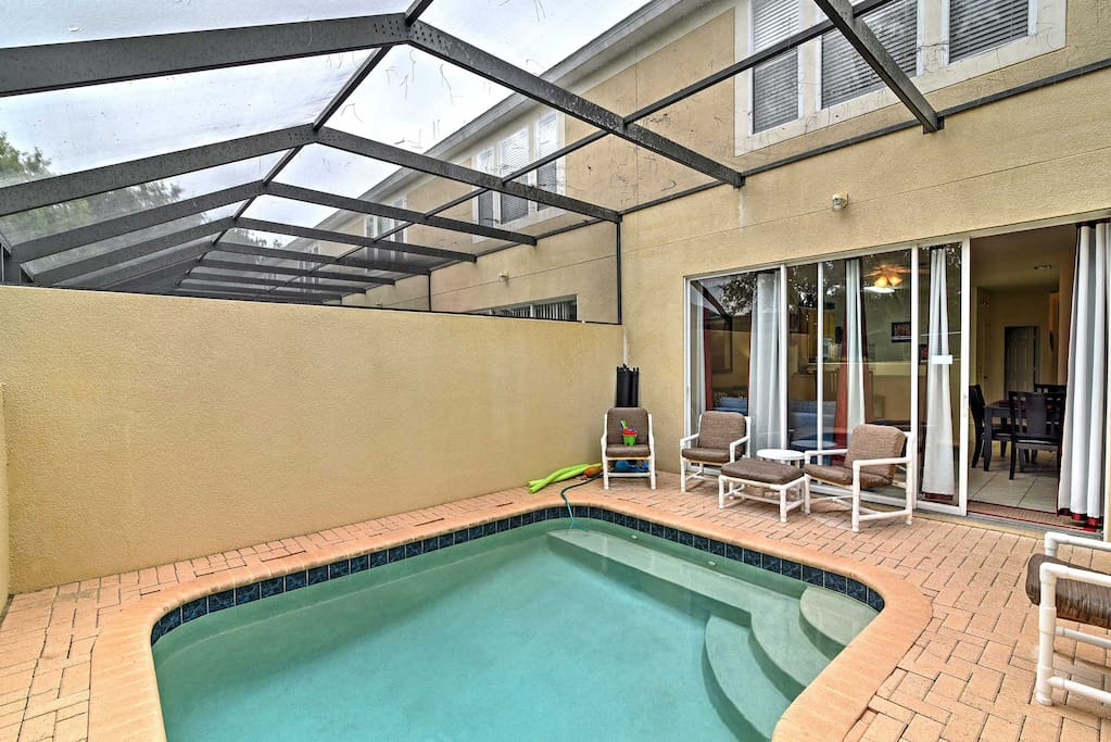 This townhome boasts a private saltwater pool,  1,440 square feet of living space and comfortable accommodations for 8 guests.
