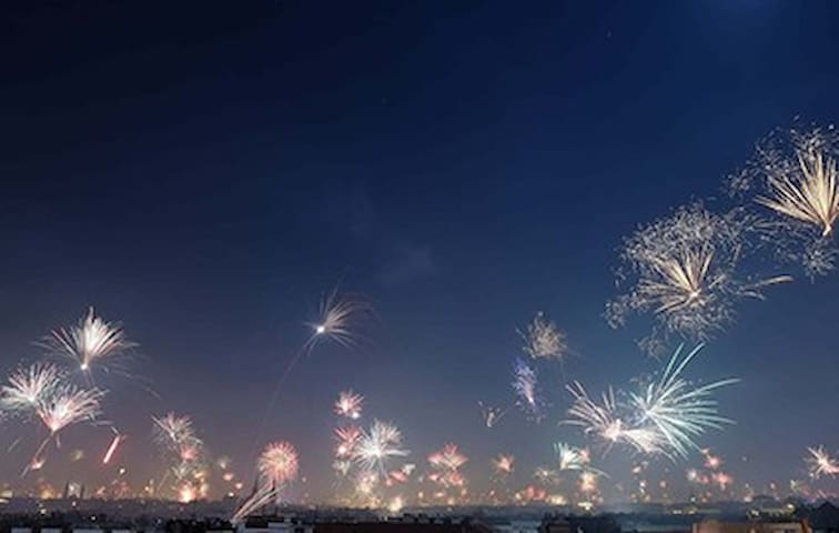 New Year fireworks seen from roofterace