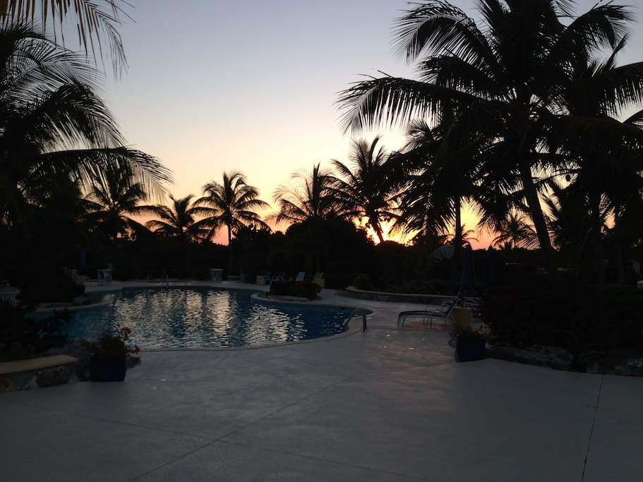 sunset over the pool - lovely!