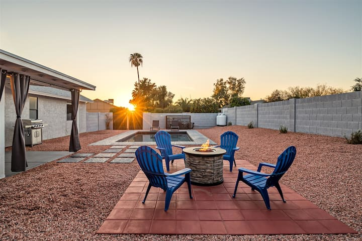 Sunny Scottsdale home with New Heated* Pool, fire-pit, & more!
