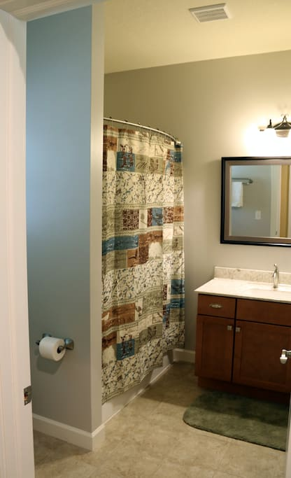 Bathroom with full tub/shower. Sometimes shared between Caroline's Corner & Sarah's Sanctuary rooms.