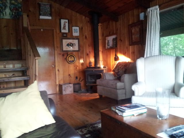 Family room reading nook beside wood burning stove