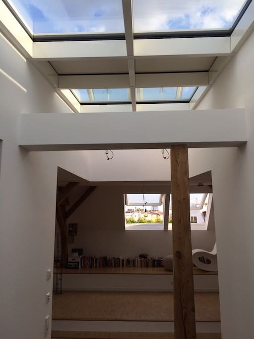 Entrance with skylights