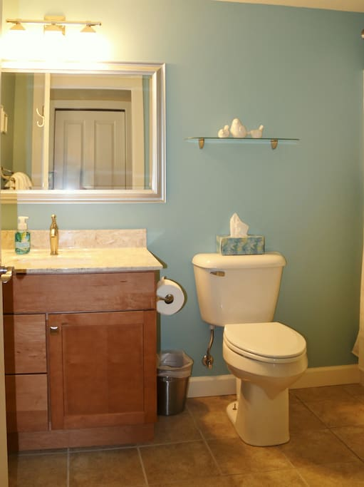 Bathroom with full tub/shower. Sometimes shared between rooms - Lydia's Retreat & Mayme's Hide-away