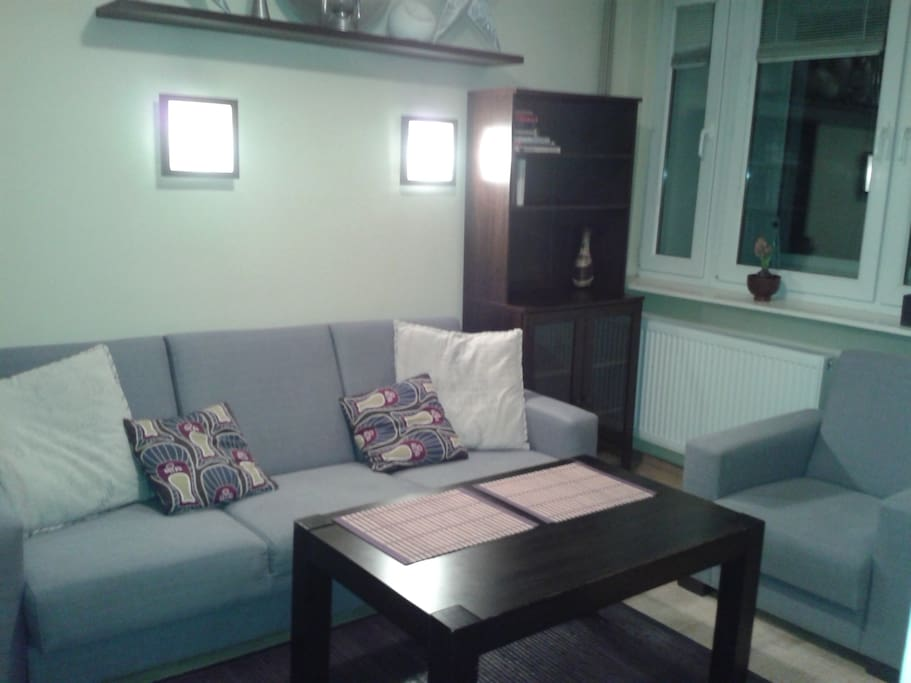 In the living-room you can relax on comfortable sofa and arm-chair