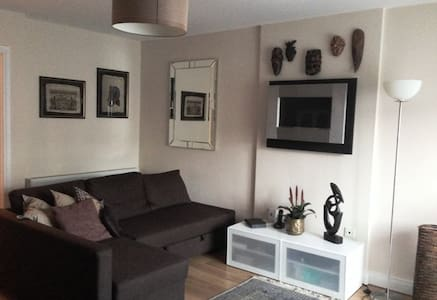 A cosy room with private bathroom is available in stylish and clean apartment, located within walking distance of Kilcock city, 10/15 minutes away of Bus stop/Train station which bring you to Dublin city.