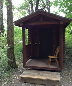 Single log cabin in the woods - White Salmon
