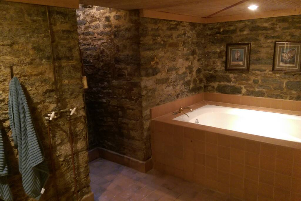 Rain shower / jacuzzi tub built into the stone foundation