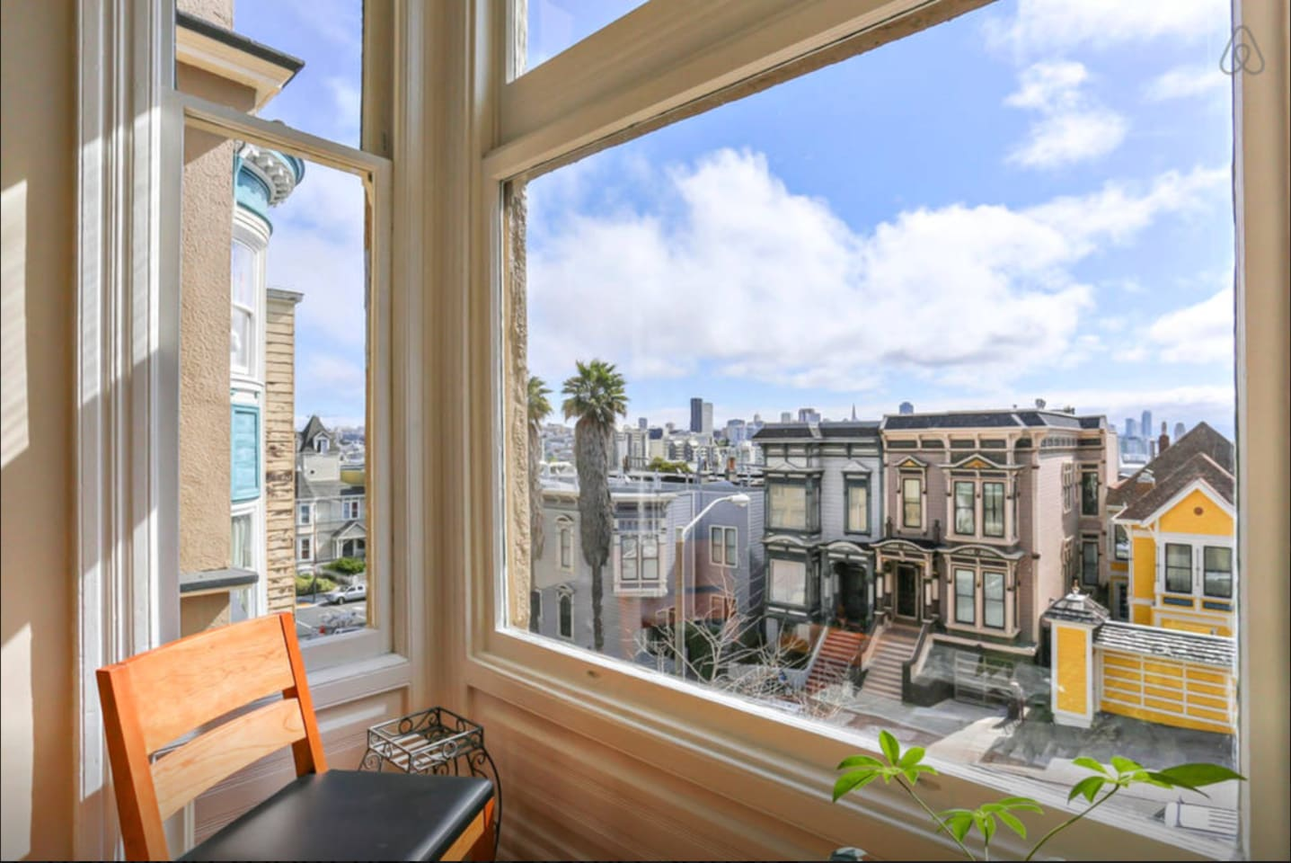 Amazing view from the living room window. Watch sunsets. Enjoy looking at San Francisco's architecture and the downtown behind.