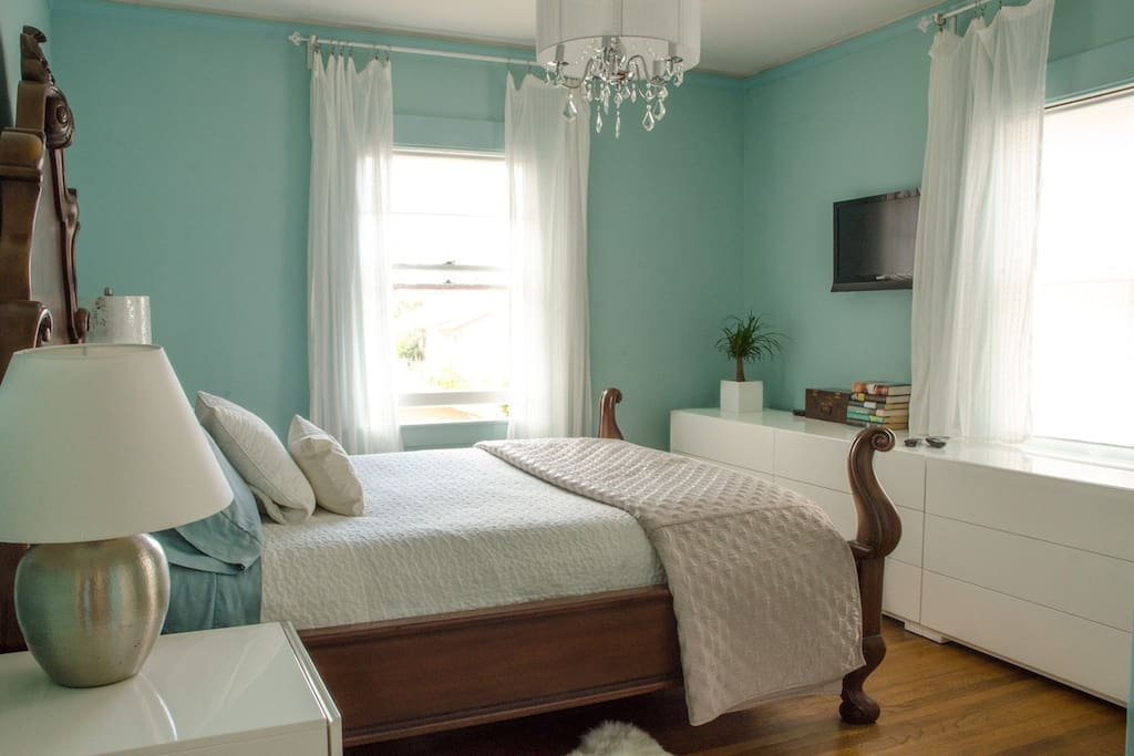The Blue Bedroom is quiet and serene, with TV (Roku + Netflix)