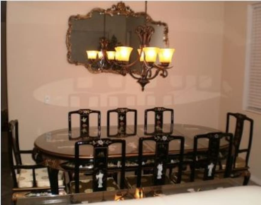 Exquisite formal dining table that seats eight persons