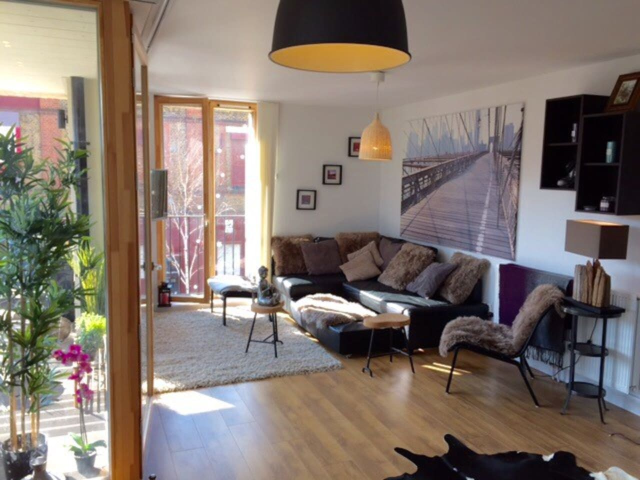 Gorgeous bright light and large living room area - all brand new. Sofa can turn into King Bed if needed. Lots of window, 40 inch TV with regular TV, Apple TV and Amazon Fire. Books, games and fireplace.