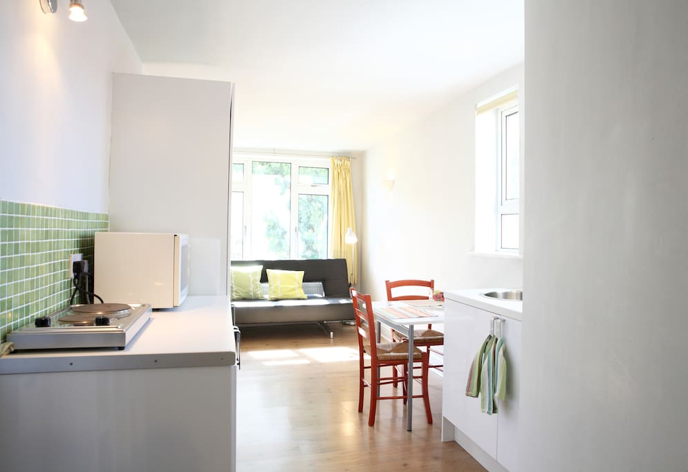 The studio has an integrated fridge, a microwave and hob as well as plenty of storage space.