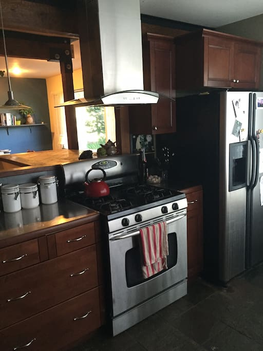 Modern gas stove and refrigerator in the recently remodeled kitchen