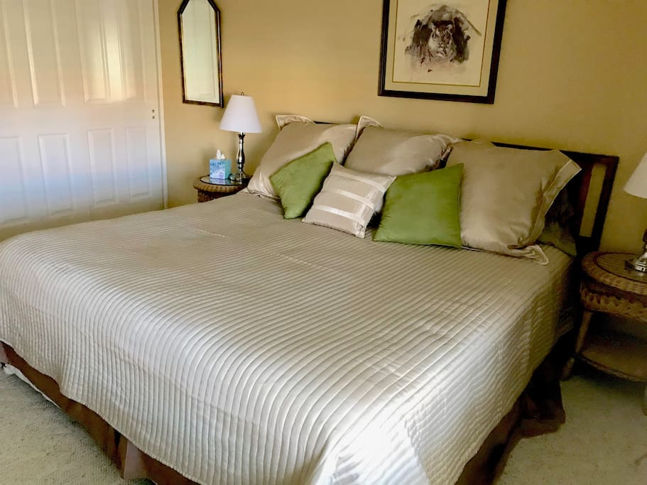 Guest room with California King bed.