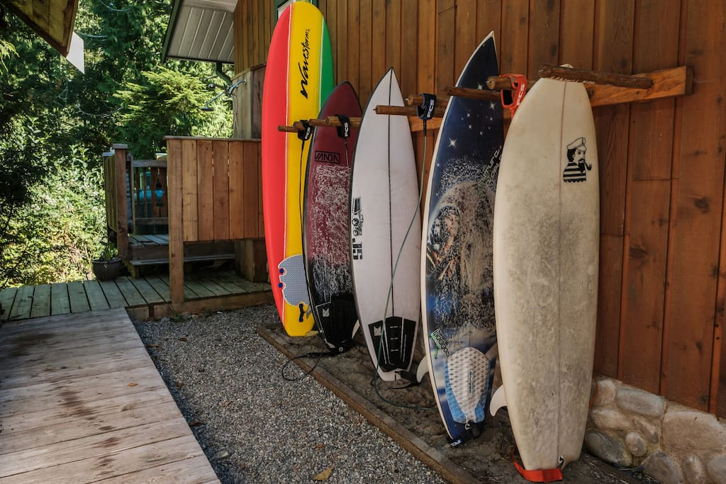 surf board rack and outdoor shower