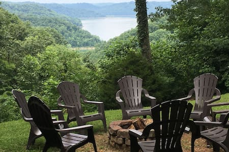 5BR, 3 Private Acres,  Lake View, Hot Tub and 2FP!