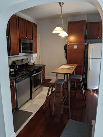Full kitchen with everything including built-in microwave and dishwasher. I also provide snacks along the lines of instant oatmeal, pop tarts and/or granola bars.