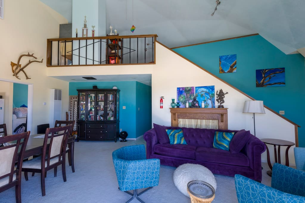 The main living space, filled with colorful and comfortable places to relax, unwind and connect.