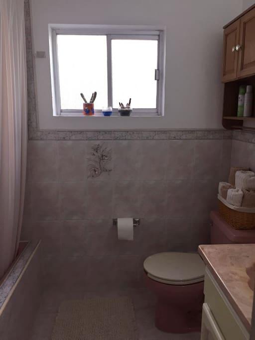 Baño privado con regadera y tina.