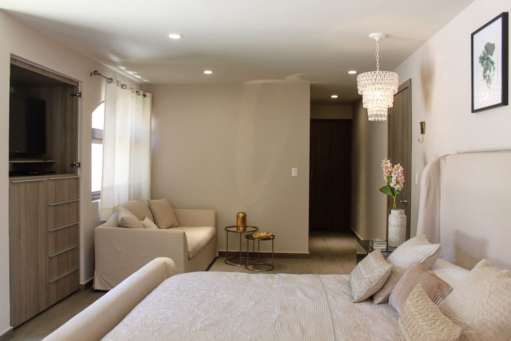 Master Bedroom With King size bed, sofa & Bathroom.