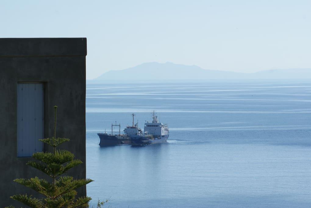 Views to ships coming into the port of Ermoupolis