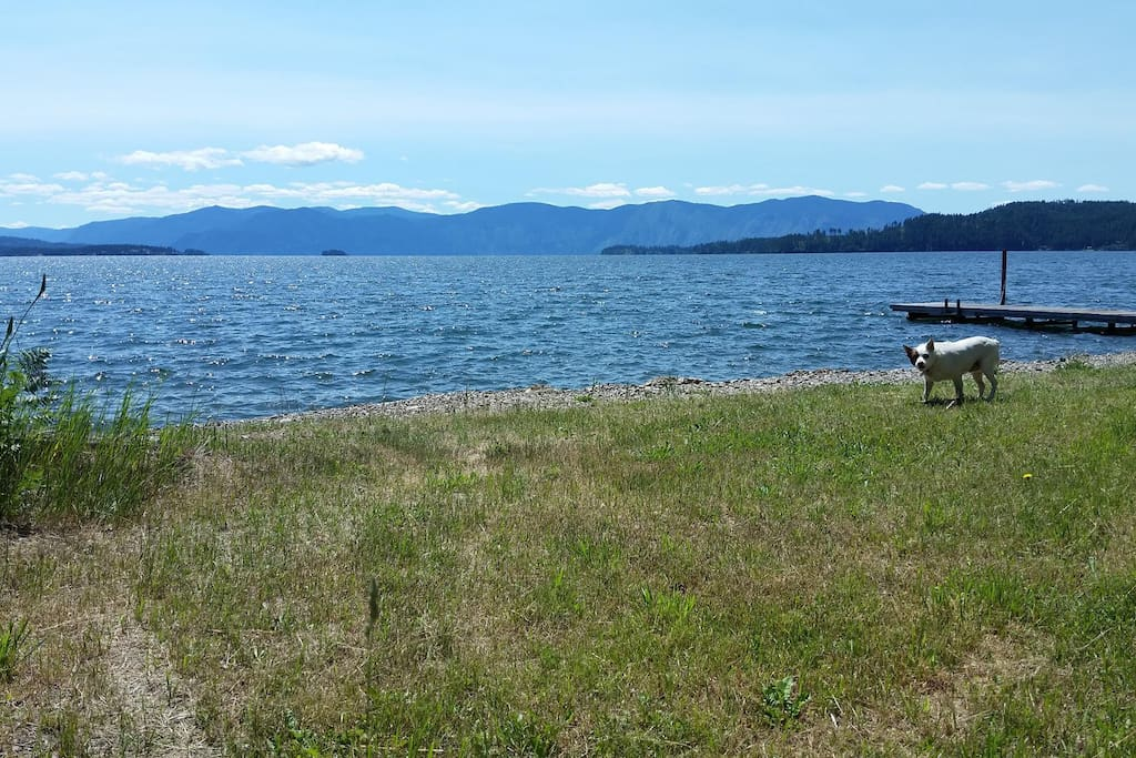 The tipi site overlooks Lake Pend Oreille from a fabulous private beach at Hawkins Point.