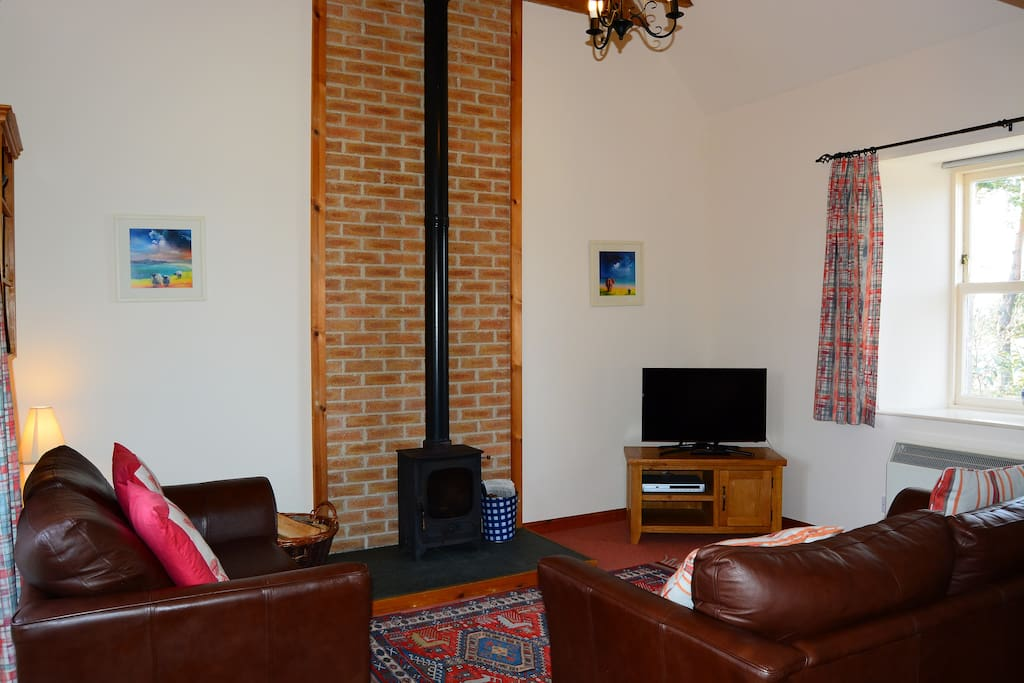 open plan living area with cosy wood burning stove (logs provided)