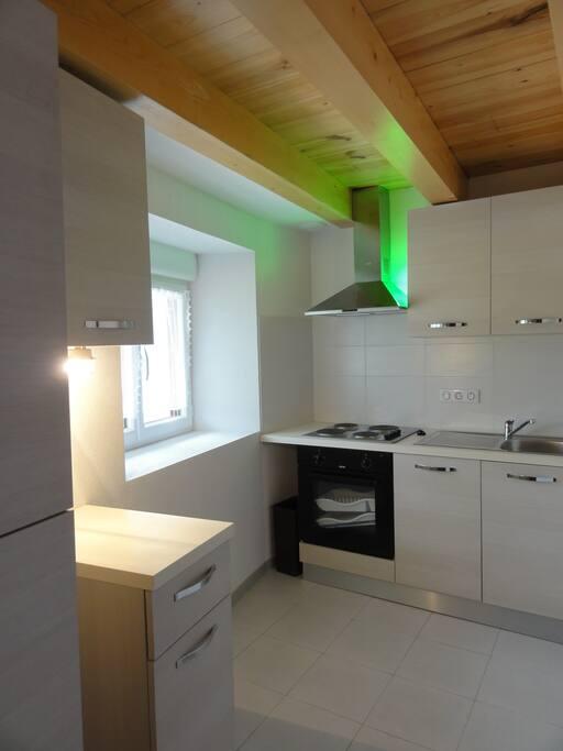 Kitchenette tout équipée (4 plaques de cuisson + hotte, d'un four et d'un réfrigérateur + congélateur).