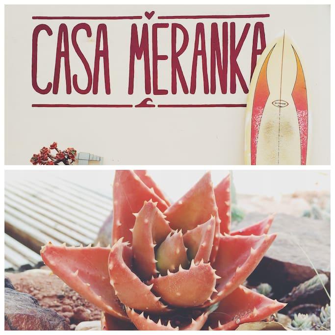Casa Meranka front wall logo.