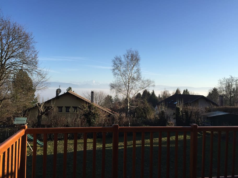 View from balcony on Mont Blanc and Lake in the background.