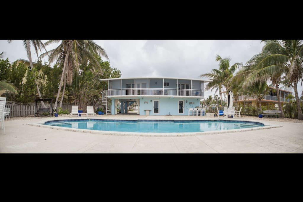 Large Florida Keys split level home with full size pool and sun deck.