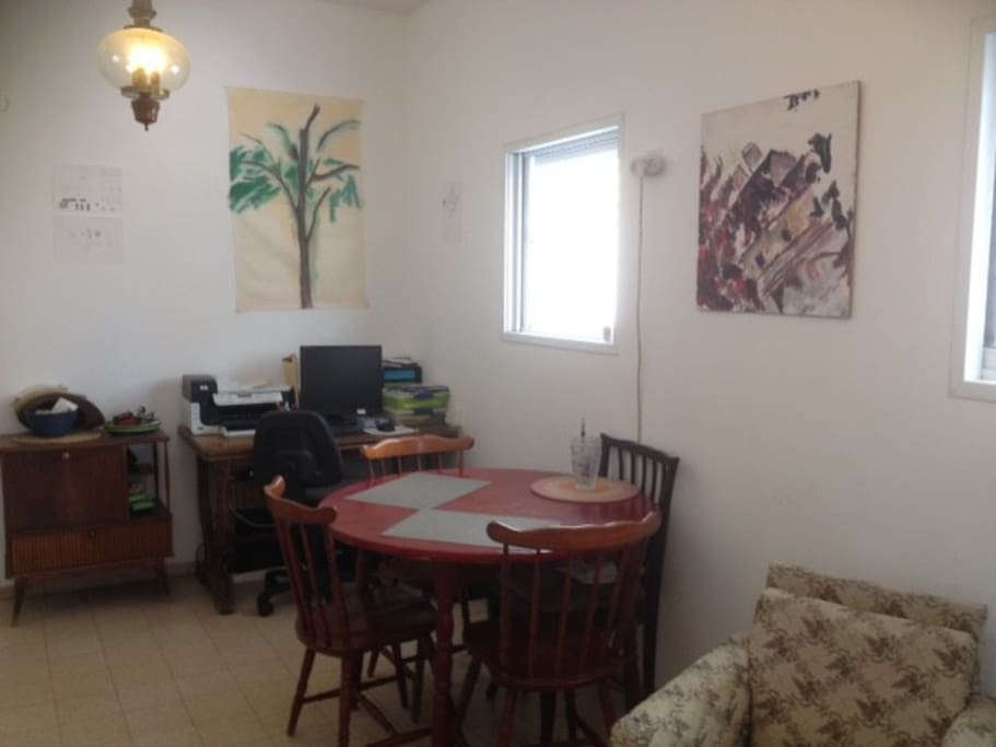 dinning table for up to 6 people. computer desk, free internet.