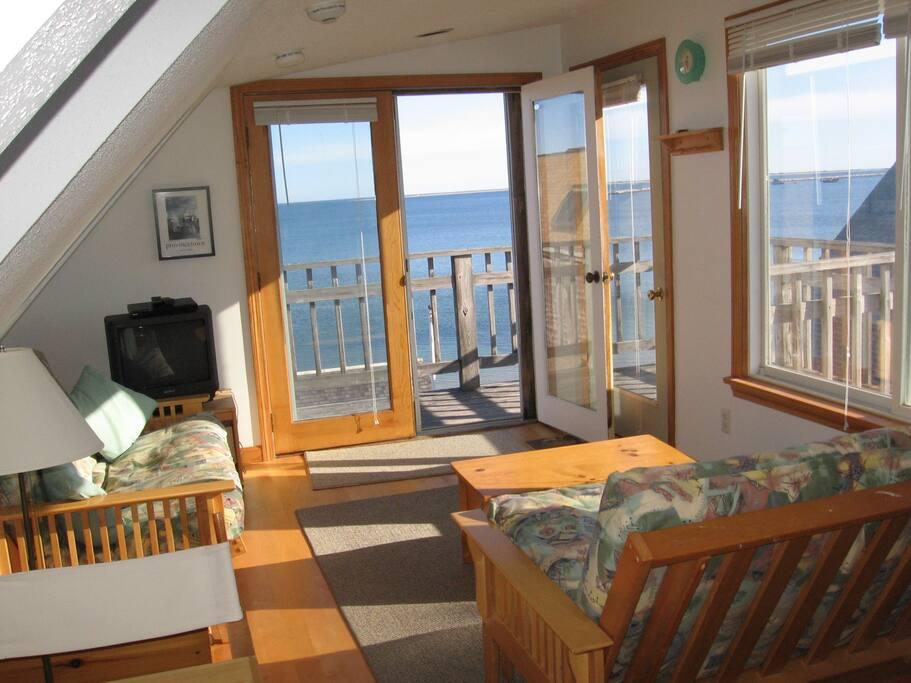 The condo overlooks Provincetown Harbor.