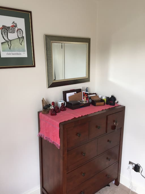 Good quality chest of drawers in bedroom.