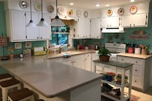 My colorful cottage kitchen has everything you need, including coffee and hot tea in the mornings if you request it.